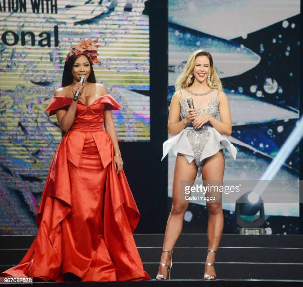 TV personality Bonang Matheba and Miss SA Adè van Heerden during the Miss SA 2018 beauty pageant grand finale at the Time Square Sun Arena on May 27...