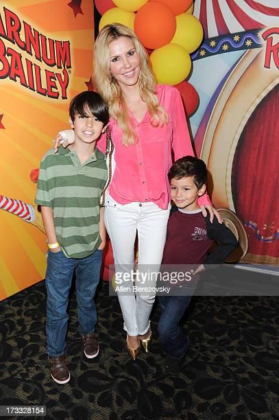 TV personality Brandi Glanville and sons Jake Austin Cibrian and Mason Edward Cibrian attend the celebrity premiere of Ringling Bros and Barnum...