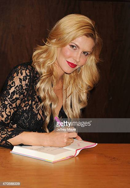 TV personality Brandi Glanville poses at her book signing For 'Drinking Dating' at Barnes Noble bookstore at The Grove on February 19 2014 in Los...