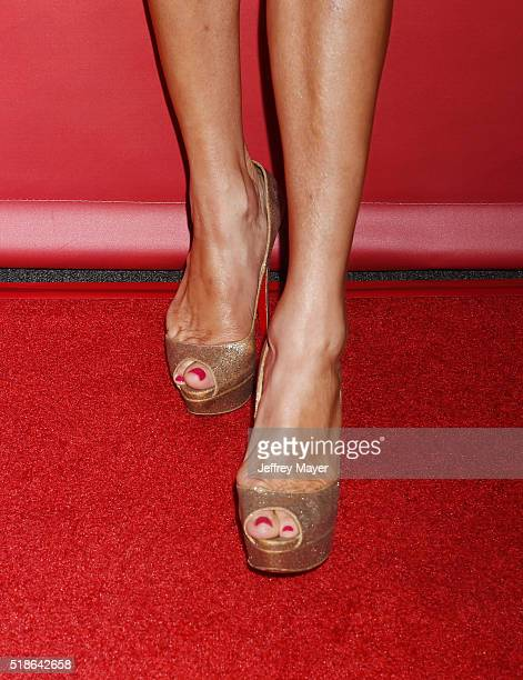 TV personality Brandi Glanville shoe detail at the 2016 Summer TCA Tour NBCUniversal Press Tour at the Four Seasons Hotel Westlake Village on April 1...
