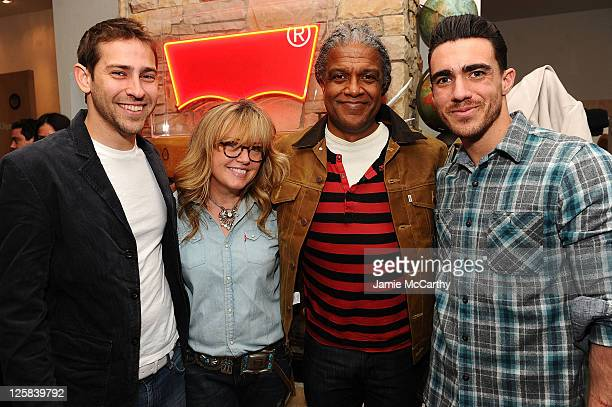 TV personality Brett Erlich Sheri Timmons of Levi's film critic Elvis Mitchell and actor Drew Kuhse attend Levi's Showroom in Park City on January 22...