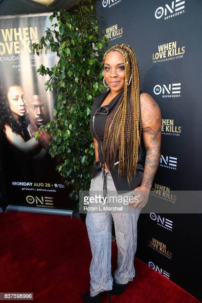 Personality Briana Latrise attends the LA premiere of TV One's When Love Kills at Harmony Gold on August 22 2017 in Los Angeles California