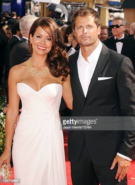 TV personality Brooke Burke and actor David Charvet arrive at the 62nd Annual Primetime Emmy Awards held at the Nokia Theatre LA Live on August 29...