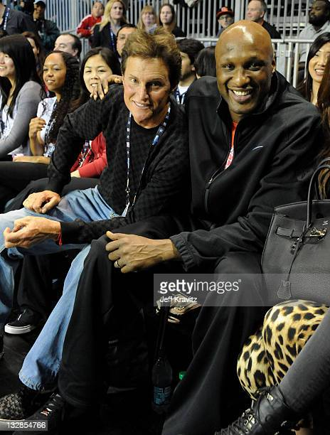 TV Personality Bruce Jenner and NBA Player Lamar Odom attend the 2011 BBVA NBA AllStar Celebrity Game at Los Angeles Convention Center on February 18...