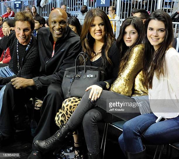 TV Personality Bruce Jenner NBA Player Lamar Odom TV Personalities Khloe Kardashian Kylie Jenner and Kendall Jenner attend the 2011 BBVA NBA AllStar...