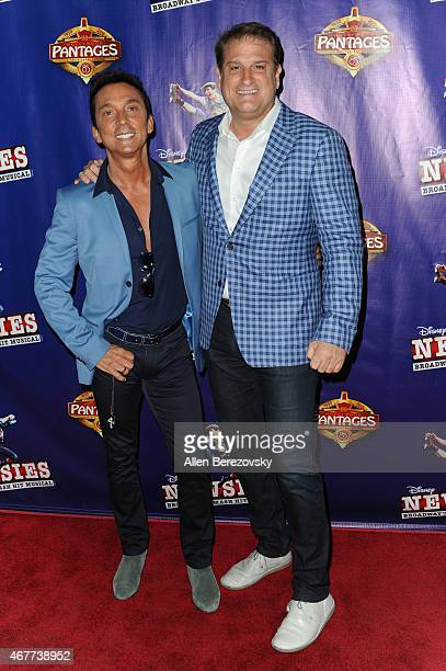 TV personality Bruno Tonioli and director Jeff Calhoun arrive at the opening night of Newsies at the Pantages Theatre on March 26 2015 in Hollywood...