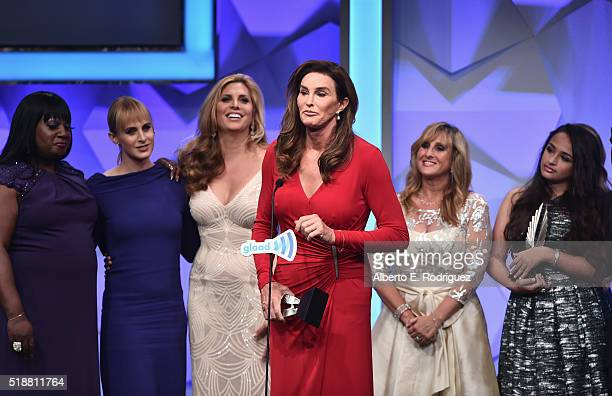Personality Caitlyn Jenner accepts the award for outstanding reality program for 'I am Cait' onstage during the 27th Annual GLAAD Media Awards at the...