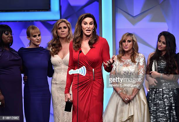 TV personality Caitlyn Jenner accepts the award for Outstanding Reality Program onstage during the 27th Annual GLAAD Media Awards at the Beverly...