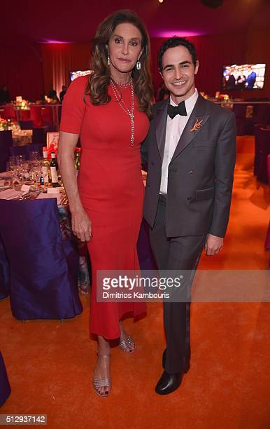 TV personality Caitlyn Jenner and fashion designer Zac Posen attend the 24th Annual Elton John AIDS Foundation's Oscar Viewing Party at The City of...