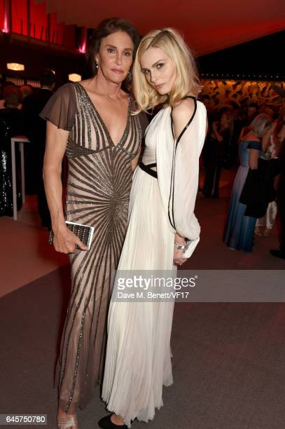 TV personality Caitlyn Jenner and model Andreja Pejic attend the 2017 Vanity Fair Oscar Party hosted by Graydon Carter at Wallis Annenberg Center for...