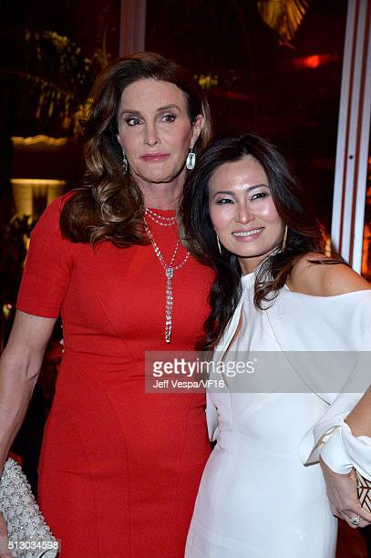 TV personality Caitlyn Jenner and Vanity Fair's beauty director SunHee Grinnell attend the 2016 Vanity Fair Oscar Party Hosted By Graydon Carter at...
