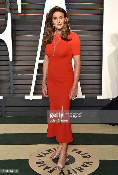 TV personality Caitlyn Jenner arrives at the 2016 Vanity Fair Oscar Party Hosted By Graydon Carter at Wallis Annenberg Center for the Performing Arts...