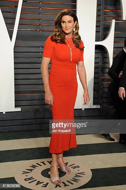 TV personality Caitlyn Jenner attends the 2016 Vanity Fair Oscar Party hosted By Graydon Carter at Wallis Annenberg Center for the Performing Arts on...