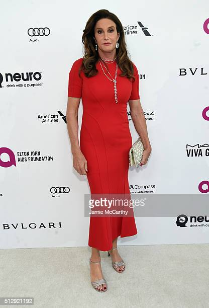 TV personality Caitlyn Jenner attends the 24th Annual Elton John AIDS Foundation's Oscar Viewing Party at The City of West Hollywood Park on February...