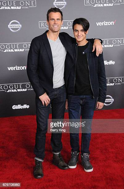 TV personality Cameron Mathison and son Lucas Arthur Mathison attend the premiere of Walt Disney Pictures and Lucasfilms' 'Rogue One A Star Wars...