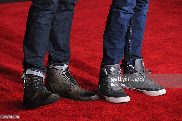 TV personality Cameron Mathison and son Lucas Arthur Mathison shoe detail attend the premiere of Walt Disney Pictures and Lucasfilms' 'Rogue One A...