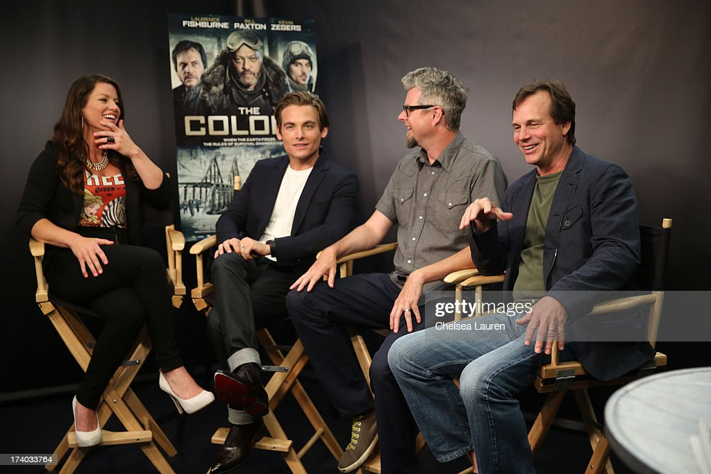 TV Personality Camille Ford, actor Kevin Zegers, director Jeff Renfroe, and actor Bill Paxton attend 'The Colony' at The Movies On Demand Lounge during Comic-Con International 2013 at Hard Rock Hotel San Diego on July 19, 2013 in San Diego, California.