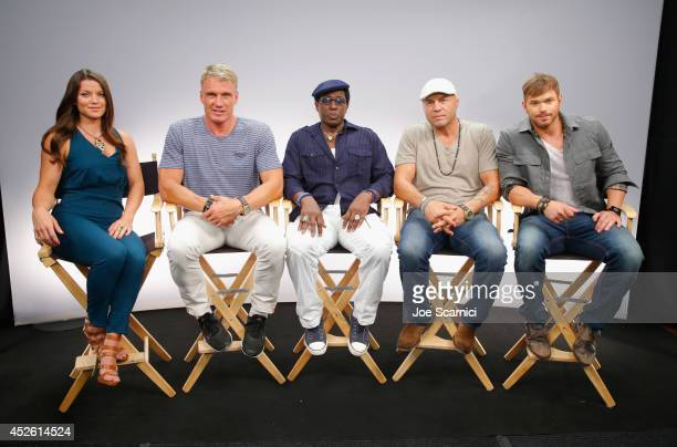 TV personality Camille Ford actors Dolph Lundgren Wesley Snipes Randy Couture and Kellan Lutz attend 'The Expendables 3' Movies on Demand Interview...