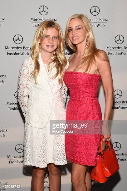 TV personality Camille Grammer and Mason Grammer attend the MercedesBenz Lounge during MercedesBenz Fashion Week Spring 2015 at Lincoln Center on...