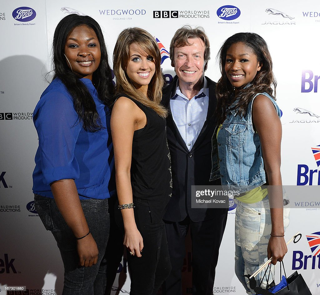 TV personality Candice Glover, TV personality Angie Miller, director/producer Nigel Lythgoe and TV personality Amber Holcomb attend the BritWeek Los Angeles Red Carpet Launch Party with Official Vehicle Sponsor Jaguar on April 23, 2013 in Los Angeles, California.