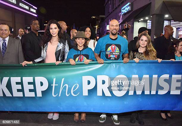 TV personality Carmen Carrera actress Rosie Perez rapper Common and singersongwriter JoJo take part in AIDS Healthcare Foundations Keep the Promise...