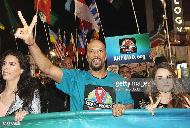 TV personality Carmen Carrera rapper Common and singersongwriter JoJo take part in AIDS Healthcare Foundations Keep the Promise March in Hollywood CA...