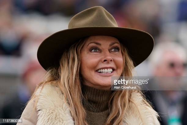 TV personality Carol Vorderman cheers home her her horse Subway Surf as it wins The Irish Thoroughbred Marketing Mares' Standard Open NH Flat Race at...