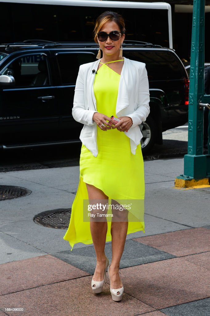 TV personality Carrie Ann Inaba enters the 'Extra' taping in Midtown Manhattan on May 9, 2013 in New York City.