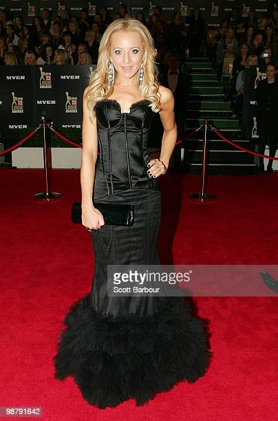TV personality Carrie Bickmore arrives at the 52nd TV Week Logie Awards at Crown Casino on May 2 2010 in Melbourne Australia