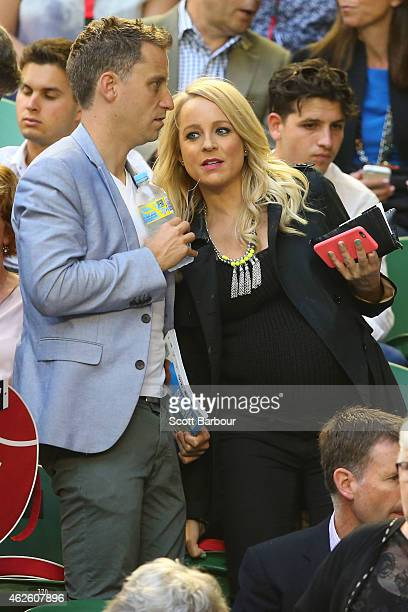 Personality Carrie Bickmore watches the action at Rod Laver Arena during day 14 of the 2015 Australian Open at Melbourne Park on February 1 2015 in...