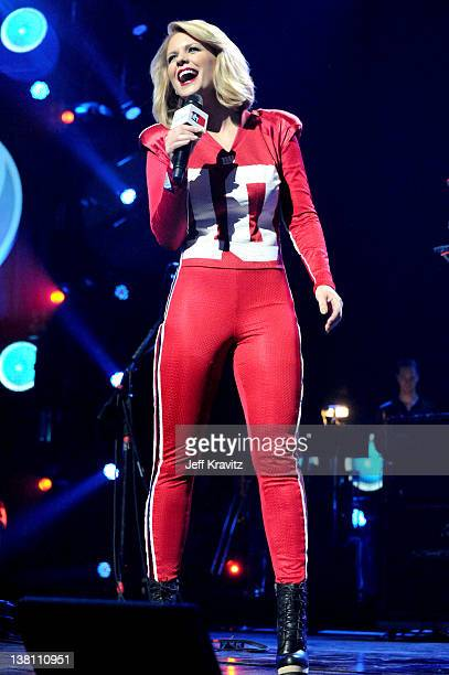 TV personality Carrie Keagan performs onstage during VH1's Super Bowl Fan Jam at Indiana State Fairgrounds Pepsi Coliseum on February 2 2012 in...