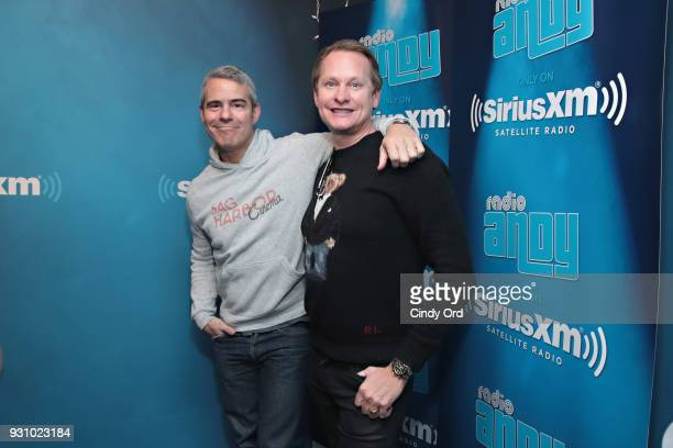 Personality Carson Kressley poses for a photo with SiriusXM host Andy Cohen during a visit to SiriusXM's 'Radio Andy' at the SiriusXM Studios on...