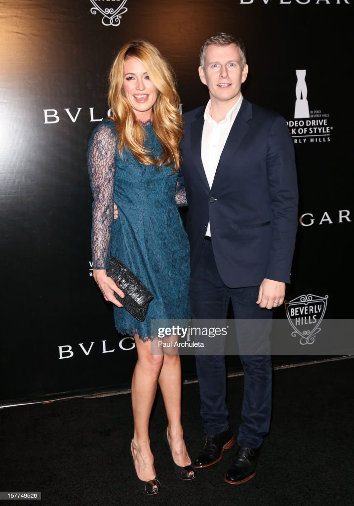 TV Personality Cat Deeley (L) and Writer Patrick Kielty (R) attend the Rodeo Drive Walk of Style honoring BVLGARI on December 5, 2012 in Beverly Hills, California.
