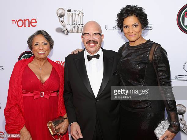 TV personality Cathy Hughes Tom Joyner and guest attend the 45th NAACP Image Awards presented by TV One at Pasadena Civic Auditorium on February 22...