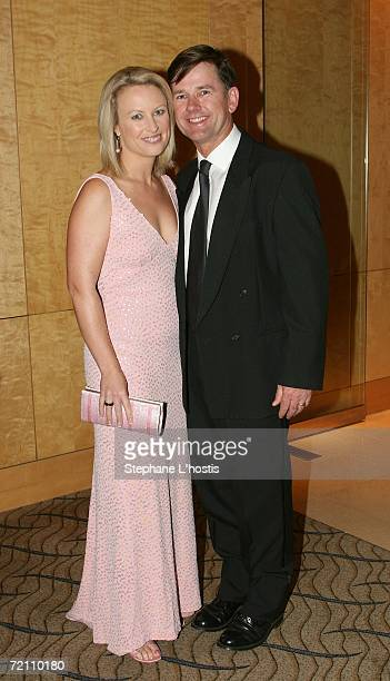 TV personality Celina Edmonds and her husband pose at the 2006 Pink Ribbon Ball as part of Breast Cancer Month and to raise money for the Sydney...