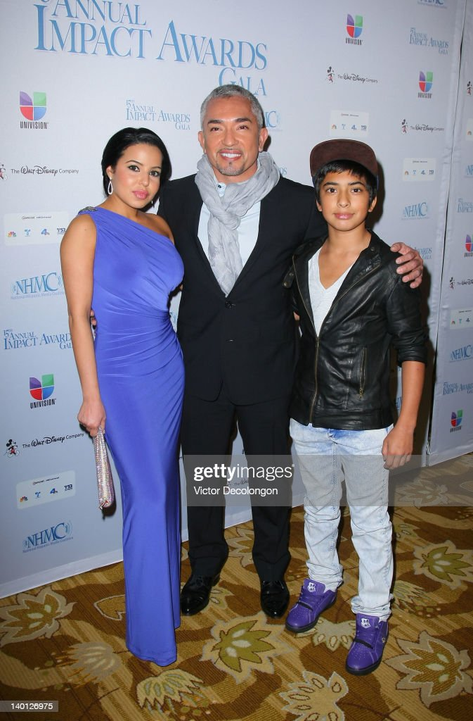 TV personality Cesar Millan (C), girlfriend Yahaira (L) and son Calvin (R) arrive for The National Hispanic Media Coalition's 15th Annual Impact Awards - Arrivals at the Beverly Wilshire Four Seasons Hotel on February 24, 2012 in Beverly Hills, California.