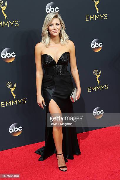 TV personality Charissa Thompson arrives at the 68th Annual Primetime Emmy Awards at the Microsoft Theater on September 18 2016 in Los Angeles...