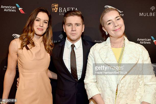 TV personality Charlie Webster actor Allen Leech and Brand Director at Mulberry AnneMarie Verdin attend the BAFTA Los Angeles Tea Party at The Four...