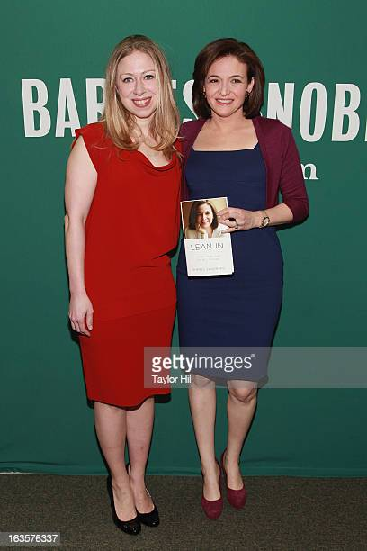 TV personality Chelsea Clinton and Facebook COO Sheryl Sandberg attend a talk to promote Lean In Women Work And The Will To Lead With Sheryl Sandberg...