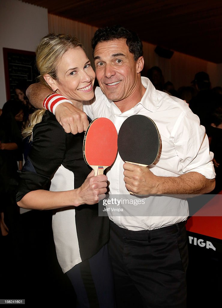 TV personality Chelsea Handler (L) and Andre Balazs attend SPiN Standard Ping Pong Social Club grand opening hosted by Susan Sarandon and Andre Balazs at The Standard, Downtown LA, on December 11, 2012 in Los Angeles, California.