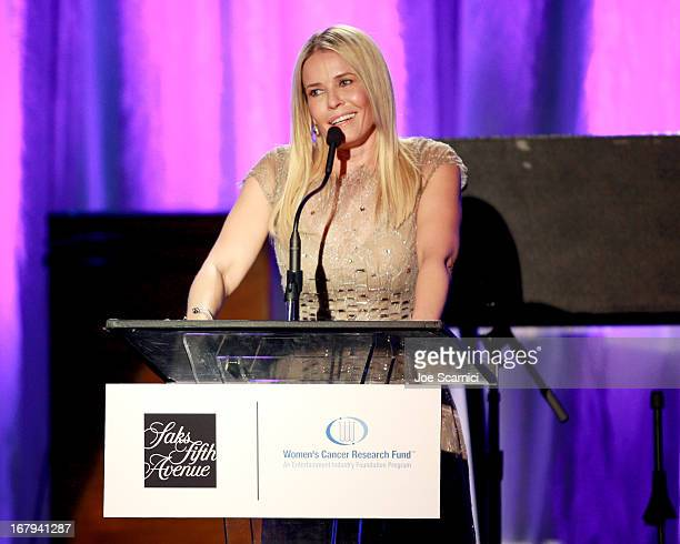 """TV personality Chelsea Handler speaks onstage during EIF Women's Cancer Research Fund's 16th Annual """"An Unforgettable Evening"""" presented by Saks..."""