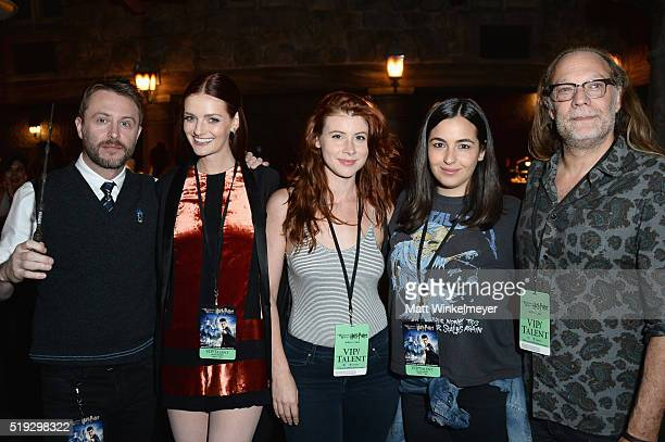 TV personality Chris Hardwick actress Lydia Hearst guest actress Alanna Masterson and special effects makeup artist Gregory Nicotero attend Universal...