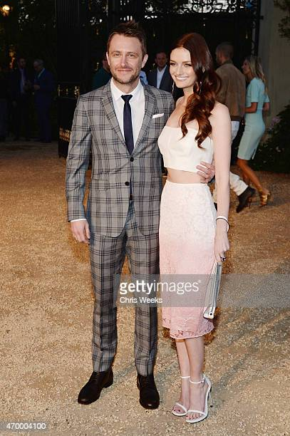 TV personality Chris Hardwick and actress Lydia Hearst attend the Burberry 'London in Los Angeles' event at Griffith Observatory on April 16 2015 in...