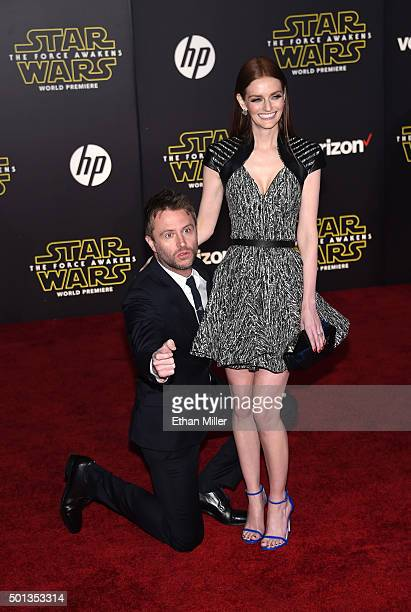 TV personality Chris Hardwick and actress Lydia Hearst attend the premiere of Walt Disney Pictures and Lucasfilm's Star Wars The Force Awakens at the...