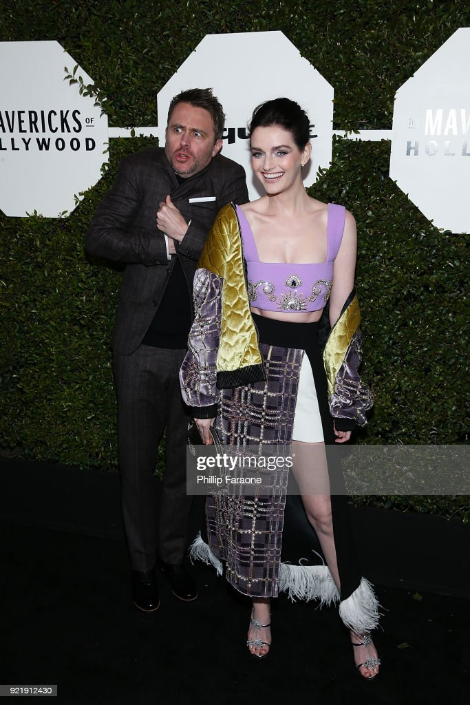 TV personality Chris Hardwick (L) and Lydia Hearst attend Esquire's Annual Maverick's of Hollywood at Sunset Tower on February 20, 2018 in Los Angeles, California.