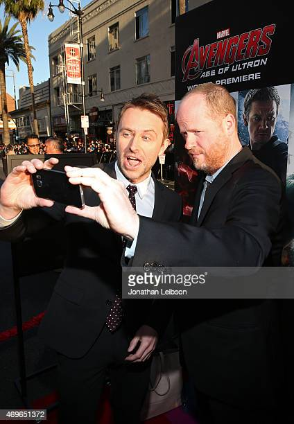 TV personality Chris Hardwick and writer/director Joss Whedon take a selfie using the new Samsung Galaxy S 6 edge at the release of 'Avengers Age Of...