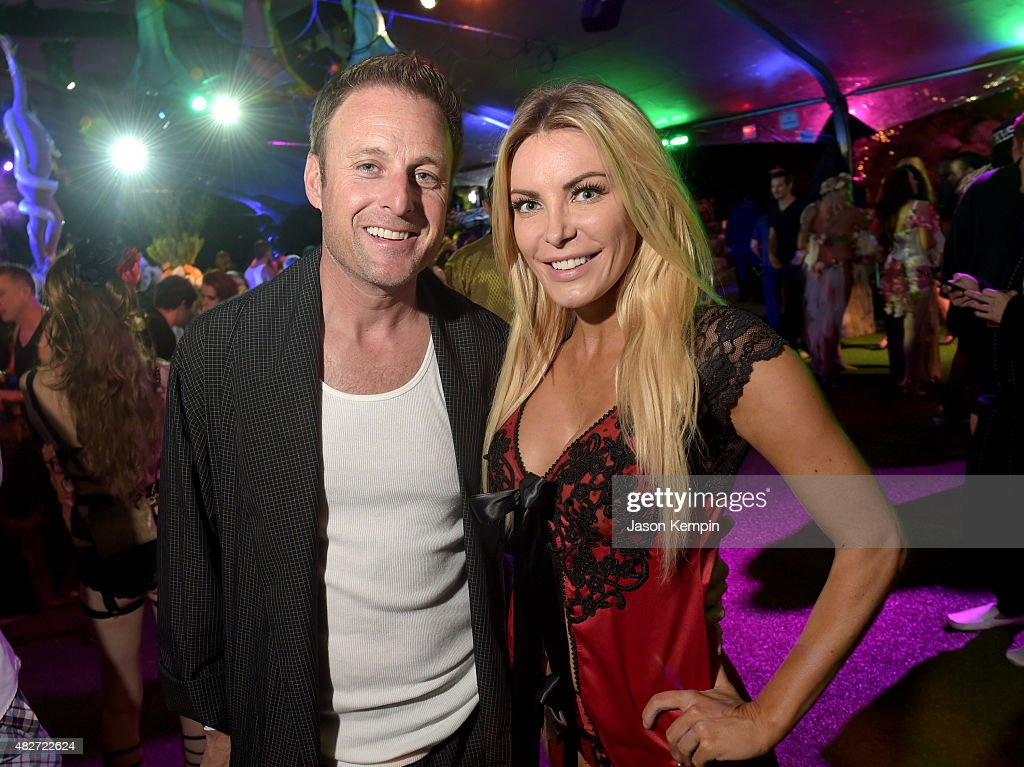 TV personality Chris Harrison (L) and Playmate Crystal Harris attend the annual Midsummer Night's Dream Party at the Playboy Mansion hosted by Hugh Hefner on August 1, 2015 in Los Angeles, California.