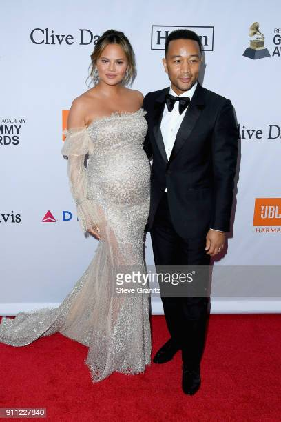 TV personality Chrissy Teigen and recording artist John Legend attend the Clive Davis and Recording Academy PreGRAMMY Gala and GRAMMY Salute to...