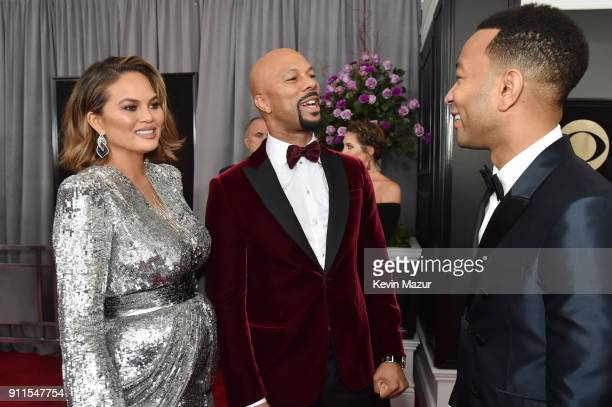 TV personality Chrissy Teigen recording artist Common and recording artist John Legend attend the 60th Annual GRAMMY Awards at Madison Square Garden...