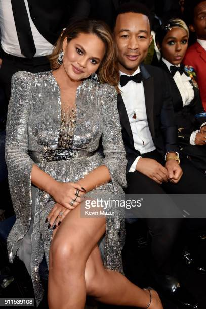 TV personality Chrissy Tiegan and recording artist John Legend attend the 60th Annual GRAMMY Awards at Madison Square Garden on January 28 2018 in...
